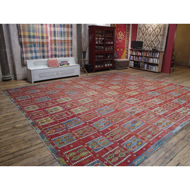This fantastic antique Kilim from Eastern Turkey is an extremely rare find; it is exceptionally large, has lovely colors...