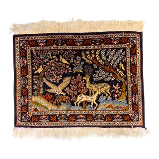 Vintage Pictorial Persian Rug For Sale