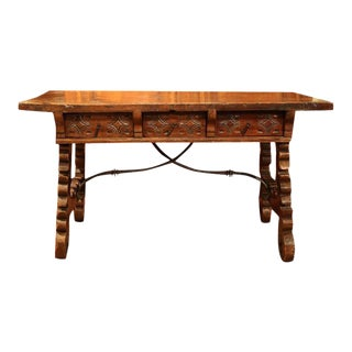 18th Century Spanish Carved Walnut Table Desk For Sale