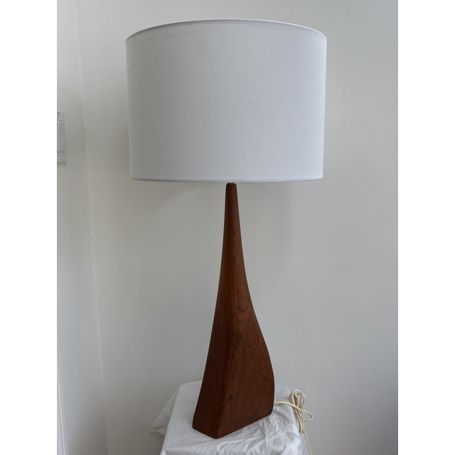 Danish modern sculptural teak table lamp in the style of Ernst Henriksen. Very unusual shape. In good working condition....