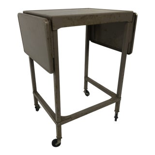 Vintage Industrial Beige Metal Drop Leaf Typewriter Table For Sale