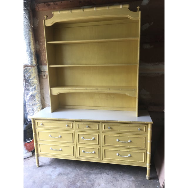 Asian 1970s Hollywood Regency Thomasville Faux Bamboo Dresser and Hutch For Sale - Image 3 of 13
