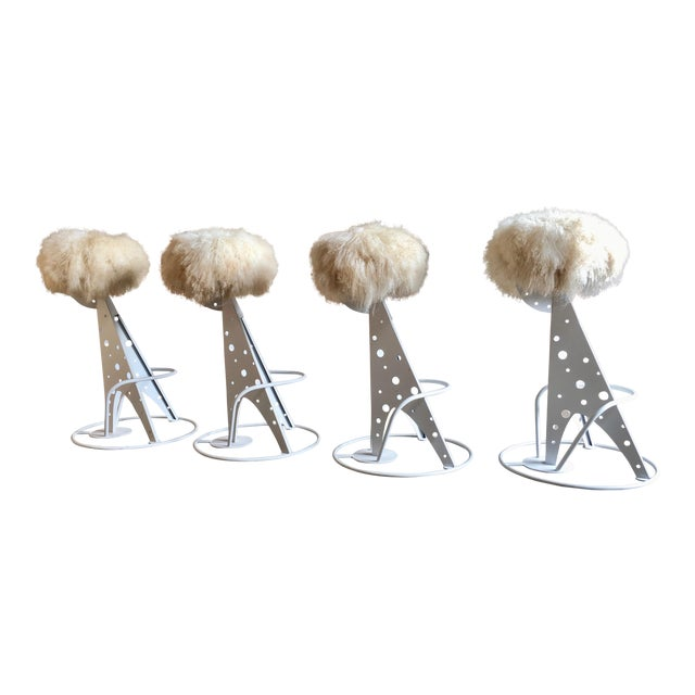 Post Modern Mongolian Wool Bar Stools - Set of 4 For Sale