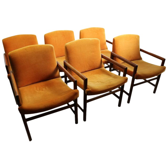 Set of 6 Rosewood Frame Dining Chairs by Baughman For Sale