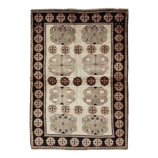 Persian Gabbeh Vintage Rug With Blossom Medallions in Brown, Ivory, Taupe, Green and Black For Sale