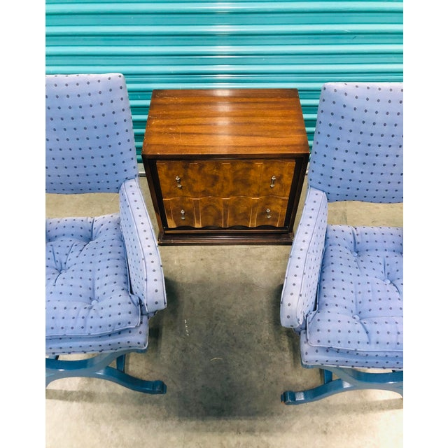 1950s Vintage Dorothy Draper Upholstered Campaign Chairs- A Pair For Sale - Image 9 of 10