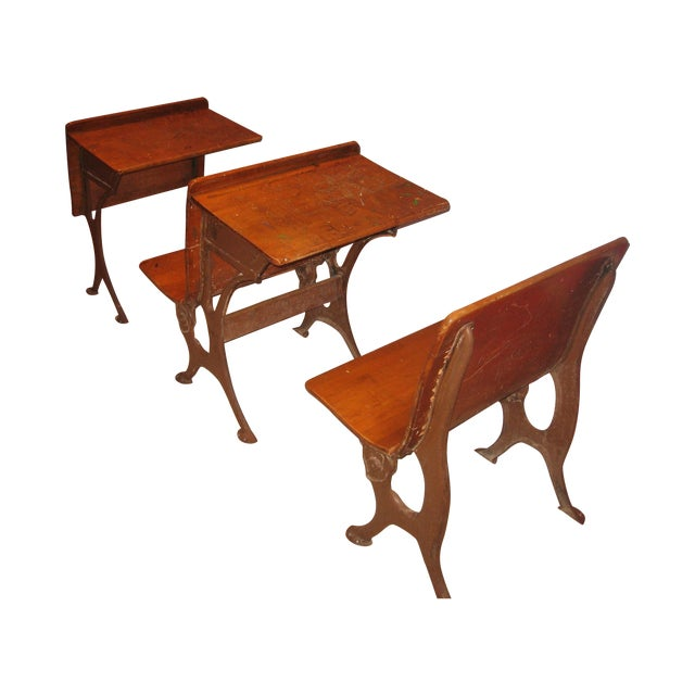 Row of Antique School Desks - 3 Pieces - Row Of Antique School Desks - 3 Pieces Chairish