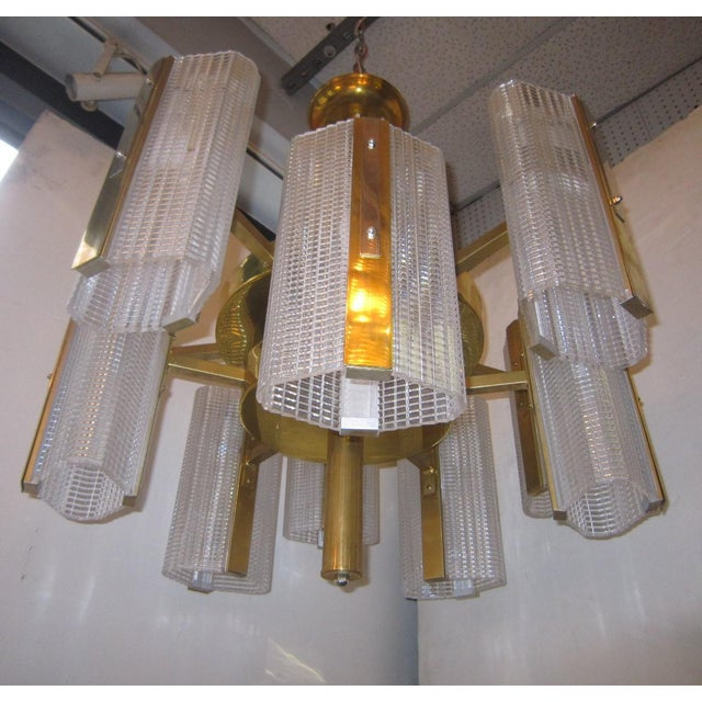 Kalmar Modernist Brass and Glass Ten-Arm Austrian Chandelier For Sale - Image 10 of 12