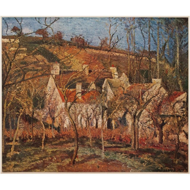 "Lithograph 1930s Camille Pissarro, Rare Original ""The Red Roofs in Pontoise"" Lithograph For Sale - Image 7 of 9"