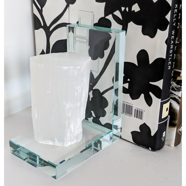 2010s Lead Crystal & Selenite Bookends - Two (2) For Sale - Image 5 of 11