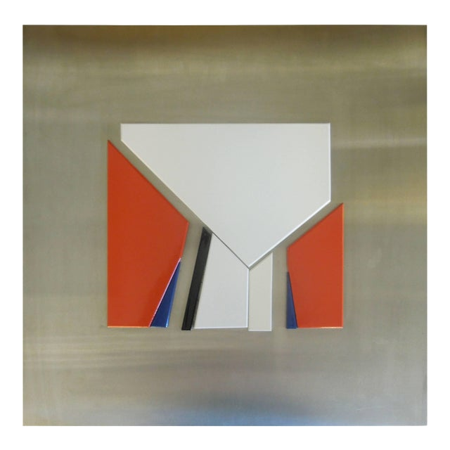 Rare 1971 Jean Baier Metal and Wood Abstract, Geneva Gallerie For Sale