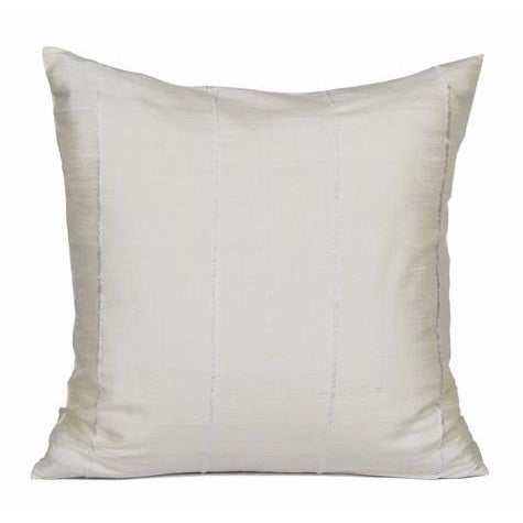 Ivory Striped Raw Silk Square Pillow Cover - Image 1 of 3
