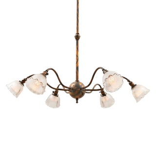 Enormous Early Electric Chandelier W/ Japanned Copper Finish Circa 1910