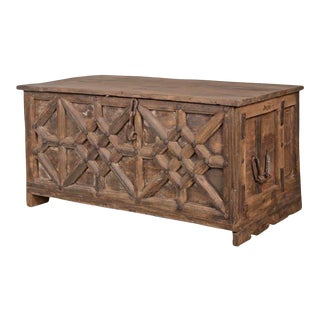 Old Carved Panel India Trunk For Sale