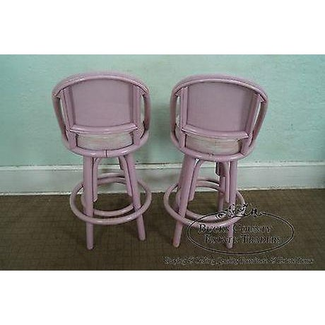 1970s Clark Casuals Vintage Set of 4 Painted Rattan Bar Stools For Sale - Image 5 of 13
