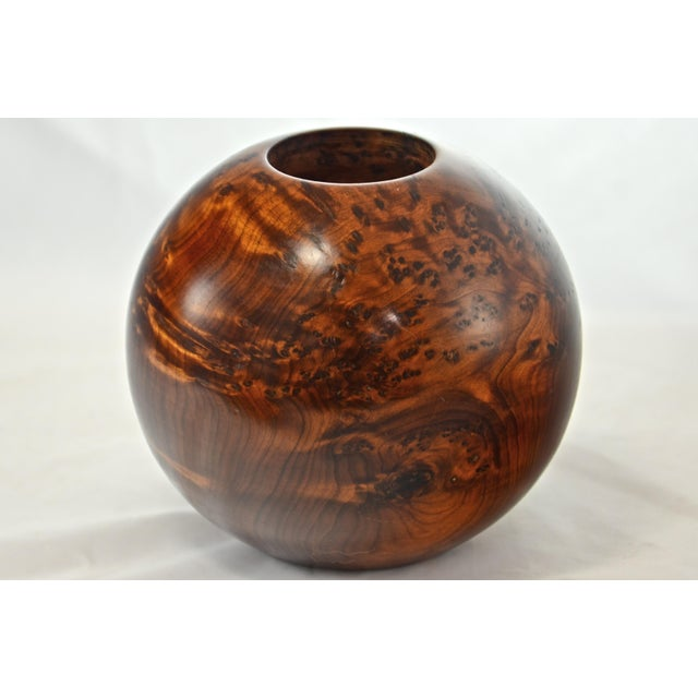 Large vintage turned Bird's Eye Maple ball-shaped candle holder with removable metal cup. Holds a tea lite candle. No...