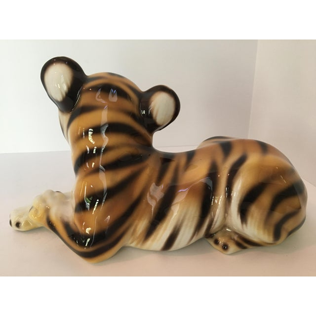 Large Scale Mid Century Italian Hand Painted Majolica Resting Tiger For Sale - Image 6 of 13