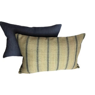 Ralph Lauren Woven Stripe Pillows - a Pair For Sale