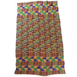 Vintage Hand Loomed African Kente Cloth Textile Throw Royalty Wrap For Sale