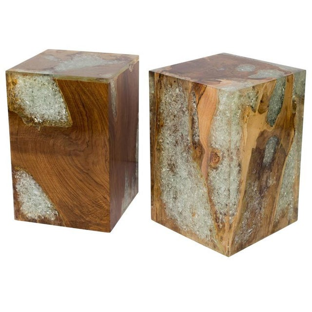 Organic modern cube table in natural and bleached teak root wood with cracked resin design. Polished finish with unique...