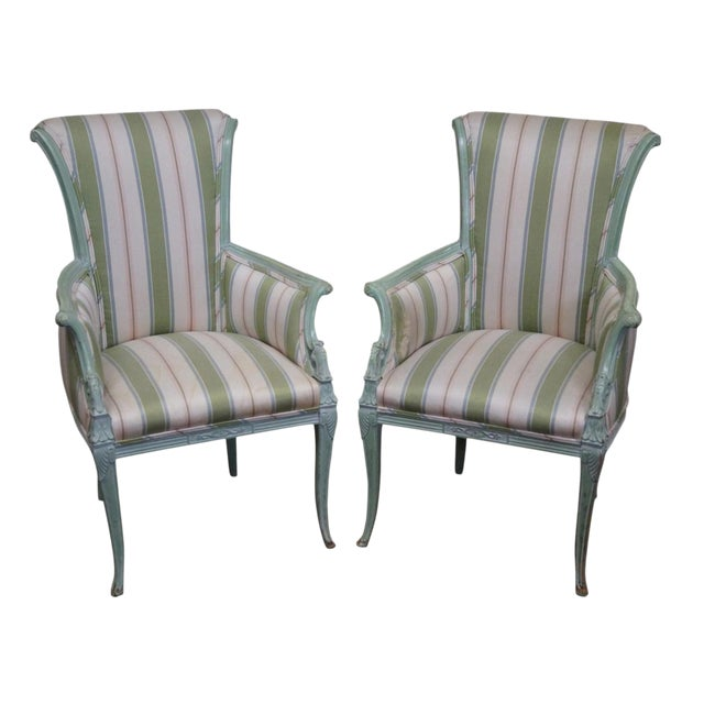 1940s Vintage Louis XV Style Fireside Bergere Host Chairs - a Pair - Image 1 of 10