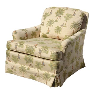 Vintage French Country Tommy Bahama Style Lounge Chair W Palm Trees & Monkeys For Sale