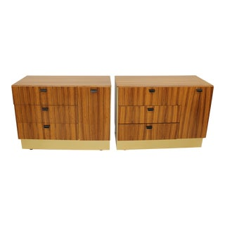 Zebra Wood and Brass Laminate Cabinets
