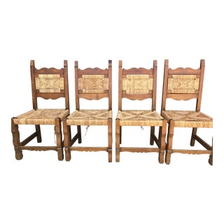 1960s Vintage Hand Woven Hacienda Chairs - Set of 4 For Sale