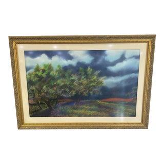 1970s Landscape Pastel Drawing on Paper, Framed For Sale