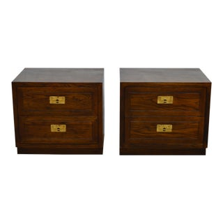 Henredon Campaign Oak Nightstands-a Pair For Sale