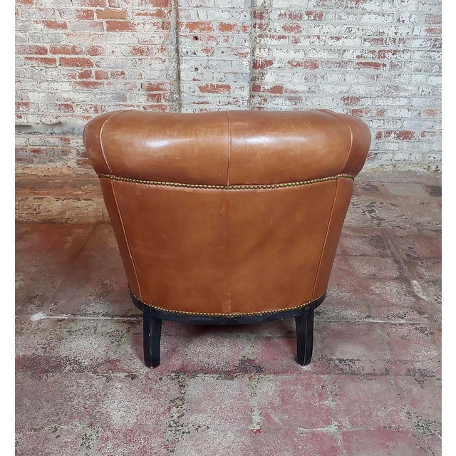 Fabulous Vintage Club Chairs W/Tufted Brown Leather-A Pair For Sale - Image 10 of 11