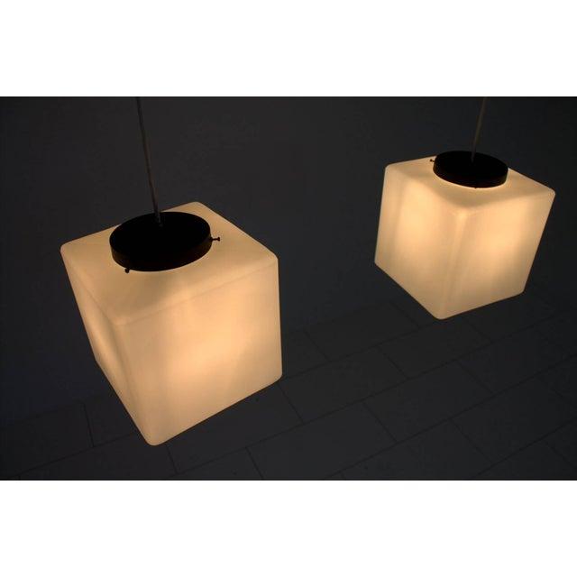 Stilnovo Pair of Milk Glass Cube Pendants by Stilnovo, Italy, 1960s For Sale - Image 4 of 8