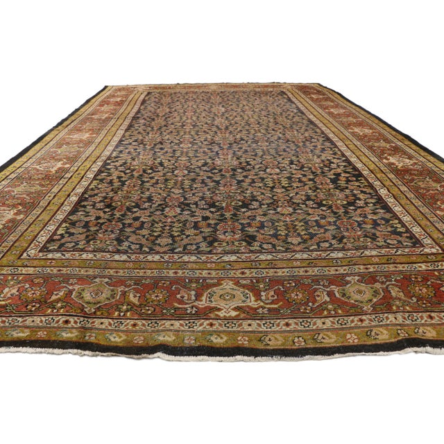 Industrial Late 19th Century Antique Persian Sultanabad Palace Rug- 10′2″ × 16′4″ For Sale - Image 3 of 9