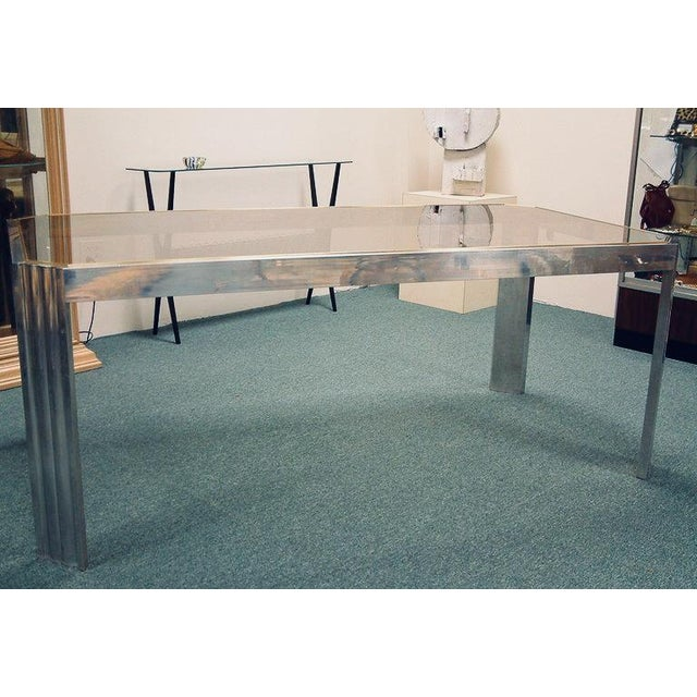 1970s 1970 Mid-Century Modern Italian Polished Aluminum and Glass Dining Table For Sale - Image 5 of 7