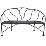 Image of Faux Bois Wrought Iron Garden Bench For Sale