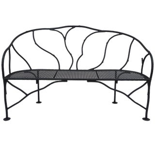Faux Bois Wrought Iron Garden Bench For Sale