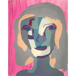 """Contemporary Abstract Portrait Painting """"Let's Go to a Party"""" - Framed For Sale"""