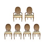 Image of Mid-Century Drexel Cane Back Wicker French Provincial Dining Chairs - Set of 6 For Sale
