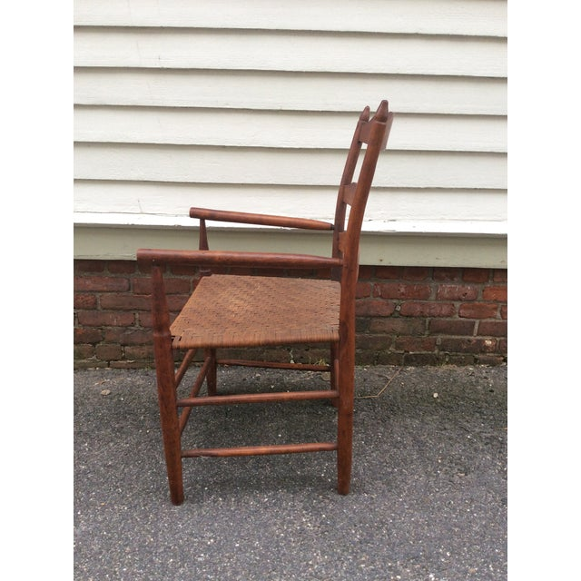 Early 19th Century Antique New England Ladder Back Arm Chair For Sale - Image 4 of 7