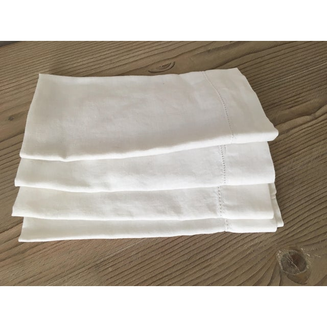 Belgian Rh White Linen Hemstitch Napkins, Set of 4 For Sale - Image 3 of 6