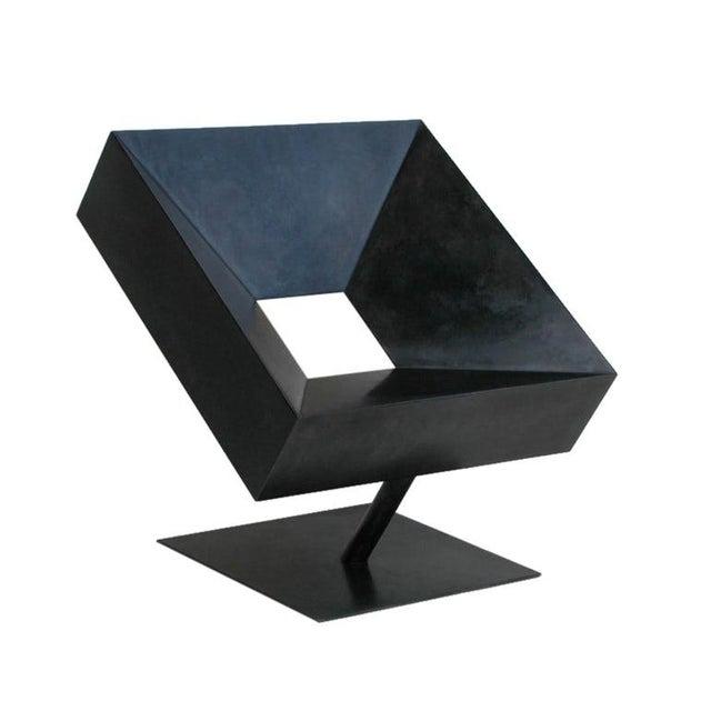 "Black Stephane Ducatteau Modernist ""Cadre"" Steel Chair For Sale - Image 8 of 8"