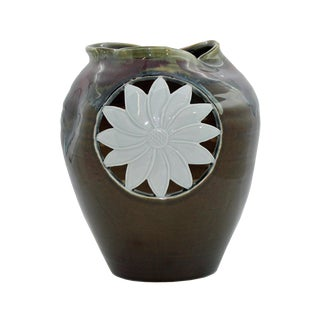 Modern Handmade Artistic Abstract Brown Red Gloss Grace Vase With Sun Flower Graphic For Sale