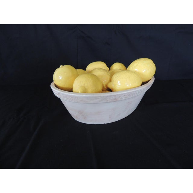 Trompe-l'Oeil Lemons Inside Faux Wooden Porcelain Basket For Sale - Image 4 of 7