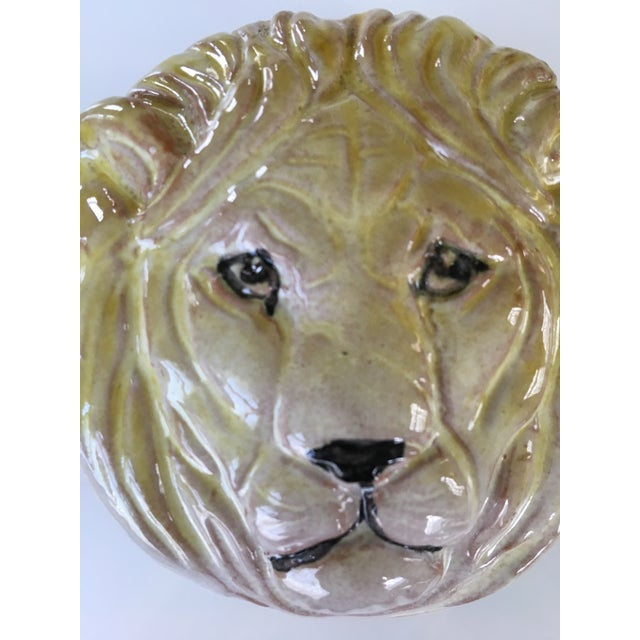 Yellow 20th Century Hollywood Regency Pottery Lion Lidded Box-Made in Italy For Sale - Image 8 of 9