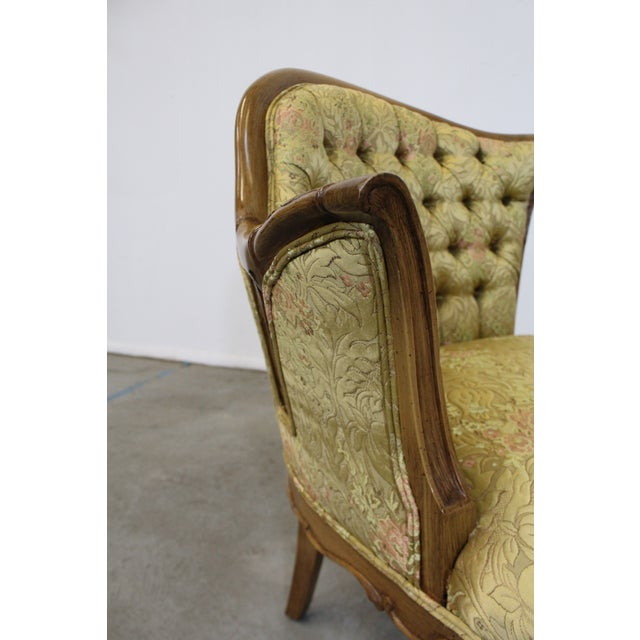 Wood Pair of Vintage French Tufted Fireside Ladies Parlor Arm Chairs For Sale - Image 7 of 13
