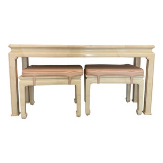 Vintage Ming Style Henredon Console Table & Stools- 3 Pieces For Sale
