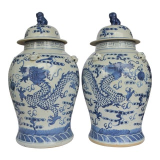 Chinoiserie White & Blue Dragon Baluster Ginger Jars - a Pair For Sale
