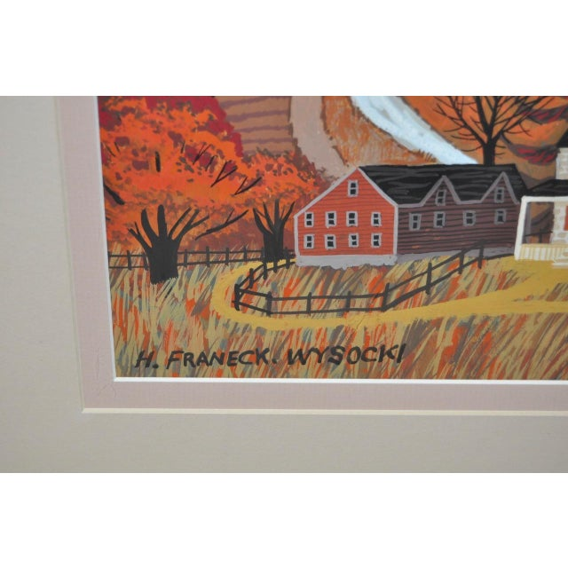 Folk Art H. Franeck Wysocki Original Gouache on Paper For Sale - Image 3 of 3