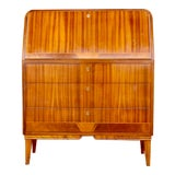 Image of 1940s Art Moderne Secretaire Desk With Chest of Drawers in Mahogany For Sale