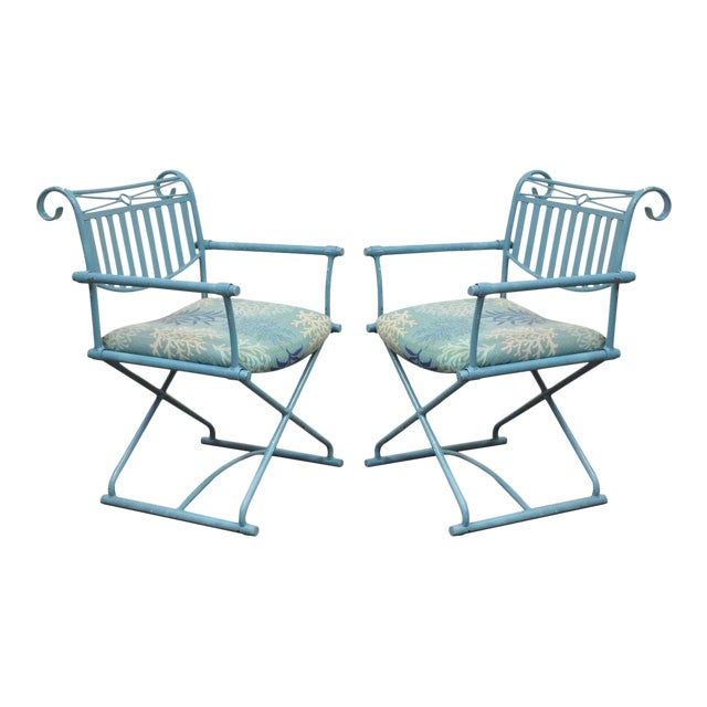 Pair of Vintage Hollywood Regency X Form Blue Iron Curule Directors Arm Chairs B - Image 1 of 11
